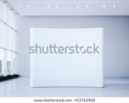 White blank trade show booth in bright office interior. 3d rendering - stock photo