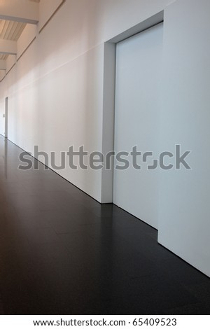 white blank wall with door photo