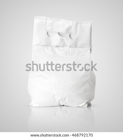 White blank washing powder bag package (cat, dog food) on gray with clipping path