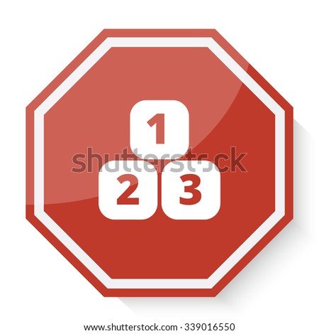 White 123 Blocks icon on red stop sign web app - stock photo
