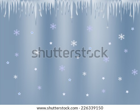 white blue icicle and snowflakes on blue background - stock photo