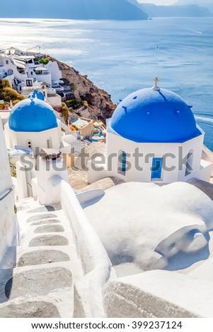 White blue Oia village on Santorini island, Greece - stock photo