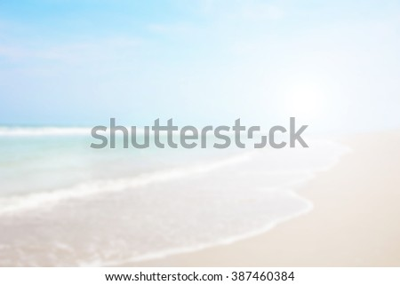 White blue surfing wave. Abstract blurred on vacation summer ocean beach background . Blue water and sky bright. Nature wallpaper blur of sea daytime. View outdoor. - stock photo