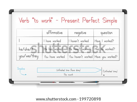 """White board. English grammar - verb """"to work"""" in Present Perfect Simple Tense - stock photo"""