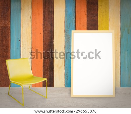 white board floor mount on colourful wall - stock photo
