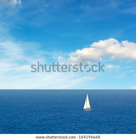 white boat in the sea - stock photo