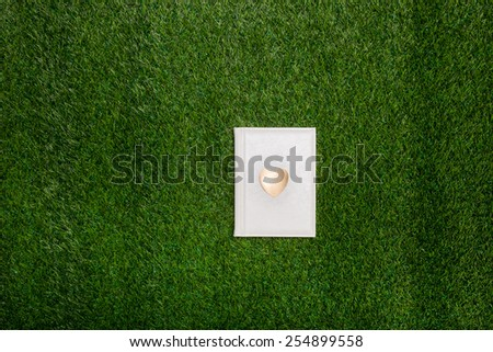 White book with gold heart lying on the grass - stock photo