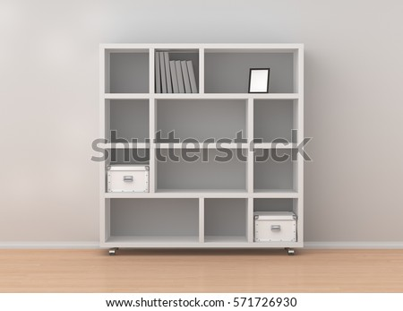 White bookcase shelves isolated in interior. Include clipping path. 3d  render - Bookcase Stock Images, Royalty-Free Images & Vectors Shutterstock
