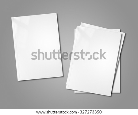 white booklet covers isolated on background - mockup template - stock photo