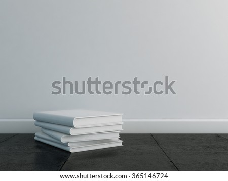 White books template on the floor with a white wall. 3d render