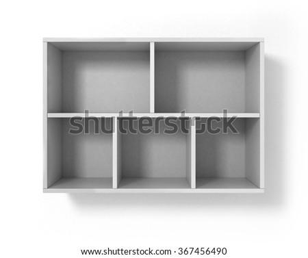 White bookshelf isolated on white background - stock photo