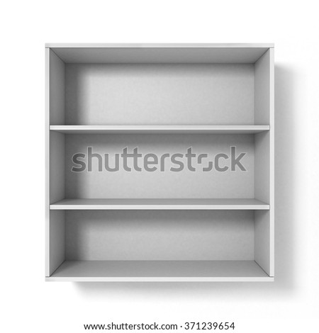 White bookshelf with three sections isolated on white background - stock photo
