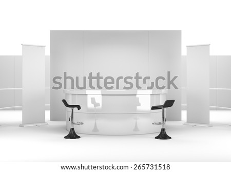 white booth or kiosk with wall and chairs from front. render - stock photo