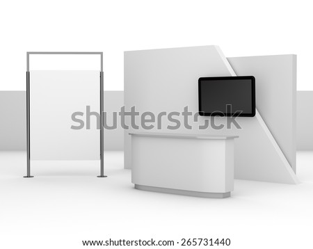 white booth or kiosk with wall and tv display. render - stock photo