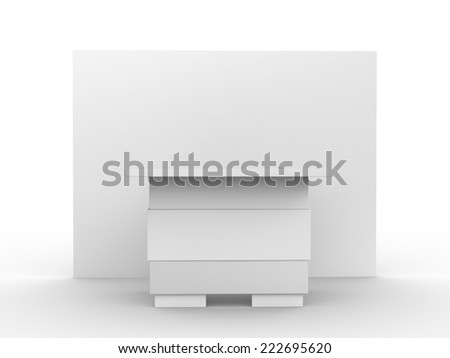 white booth or kiosk with wall from front view. render - stock photo