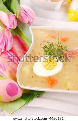 white borscht with eggs and  sausage  for easter
