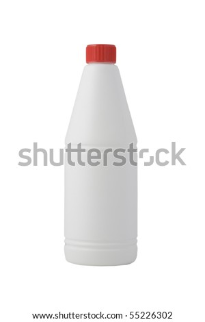 white bottle, cleaning product on white background - stock photo