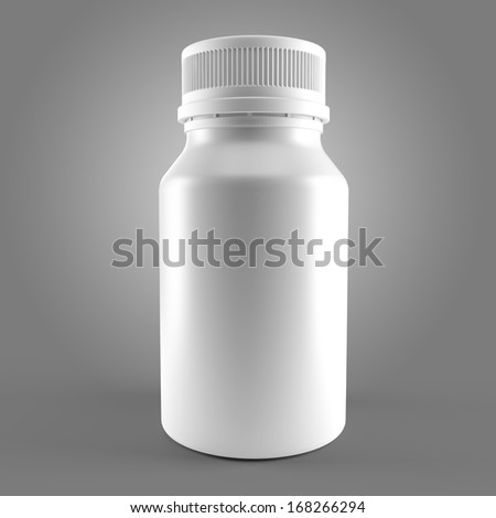 White bottle for medecine isolated. 3d - stock photo