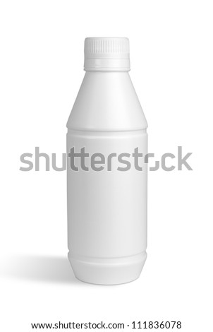 White bottle isolated with Clipping Path - stock photo