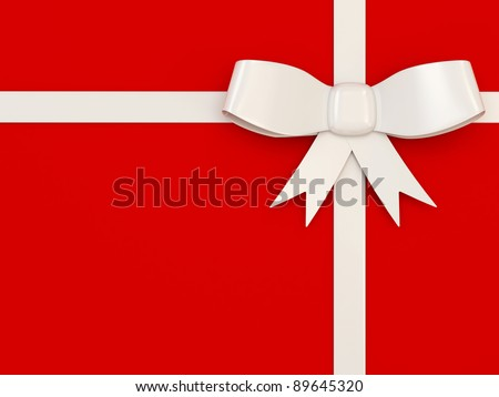 White Bow on red background - stock photo