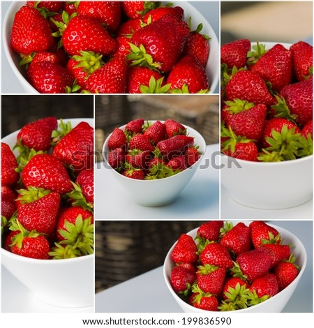 white bowl filled with succulent juicy fresh ripe red strawberries - stock photo