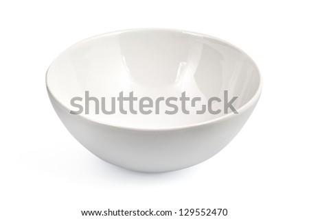 white bowl isolated - stock photo