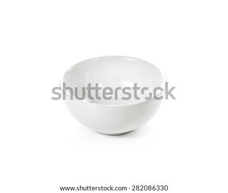 white bowl isolated white background - stock photo