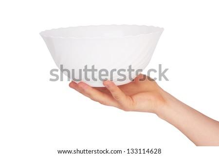 white bowl on hand on white background - stock photo