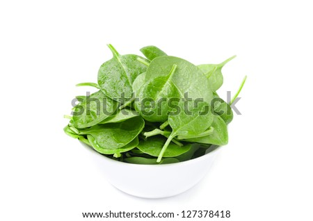 white bowl with fresh spinach isolated on a white background