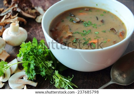 White bowl with mushroom soup with fresh parsley - stock photo