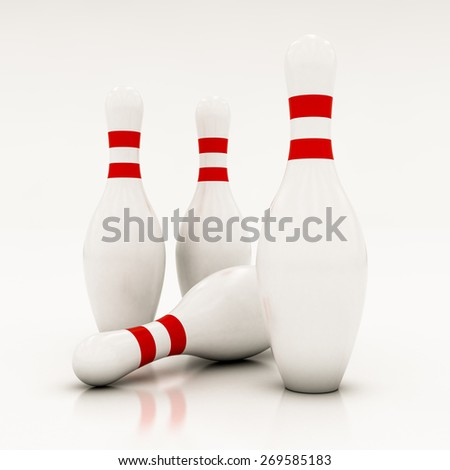 white bowling pins on a white background