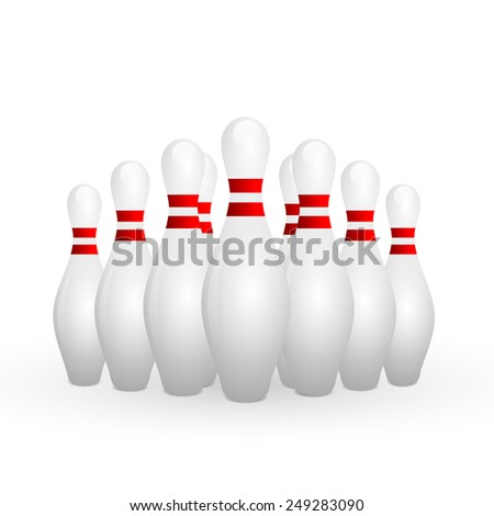 white bowling pins row on white background - stock photo