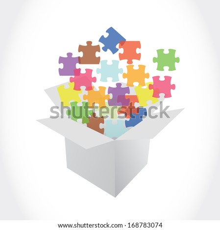 white box and puzzle pieces illustration design over a white background - stock photo