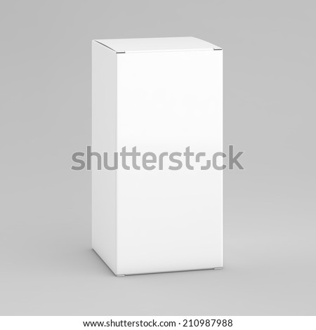 white box on gray background - stock photo