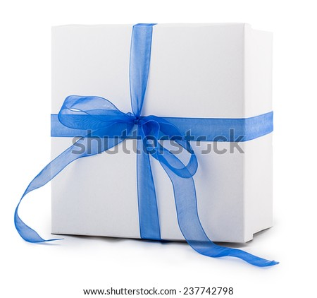 white box packing paper blue bow ribbon Isolated on white background - stock photo