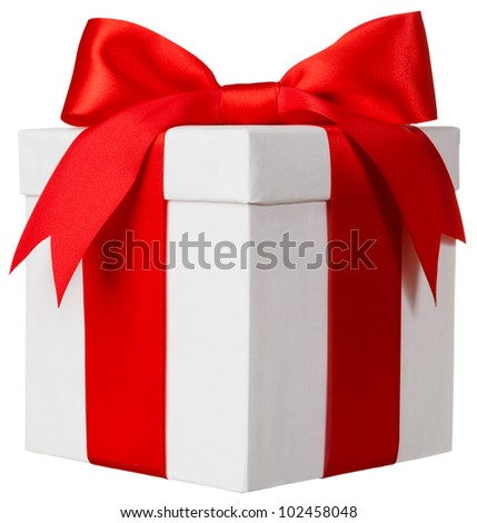 White box red bow and ribbon - stock photo