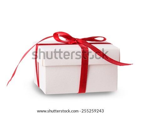 white box red ribbon bow Isolated on white background