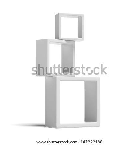 white box shelves - stock photo