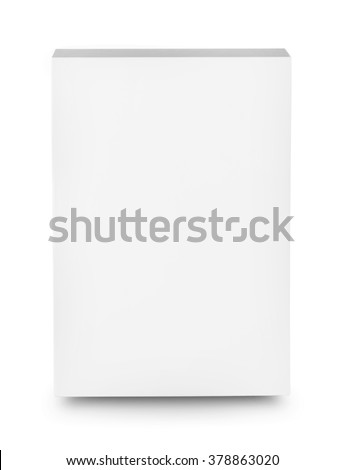 White box shot from the front isolated on white background - stock photo