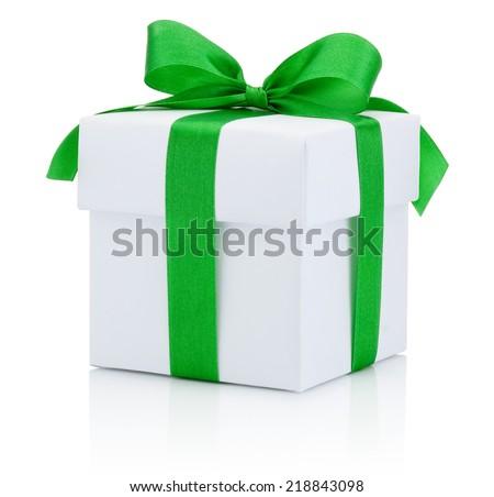 White box tied green ribbon bow Isolated on white background - stock photo