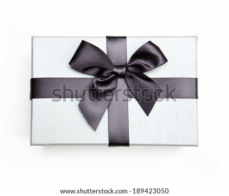 White box with a bow / studio photo of white box wrapping ribbon with bow-knot - on white background  - stock photo