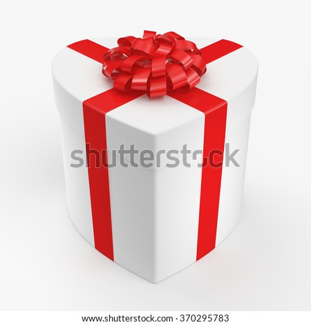 White box with heart shaped red ribbon