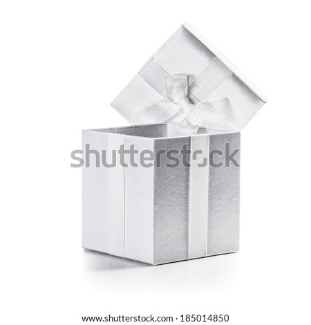 White box with ribbon bow isolated on white background clipping path included - stock photo