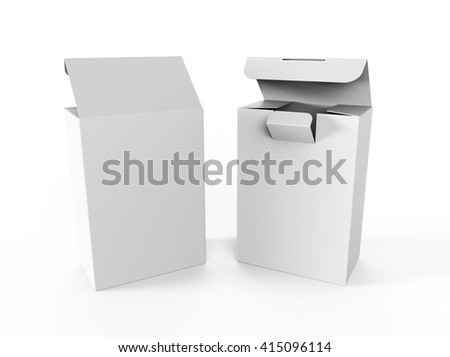 White boxes for perfumes and other products, Mockup. 3D illustration - stock photo