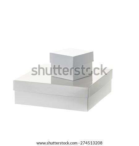 white boxes isolated over white background - stock photo