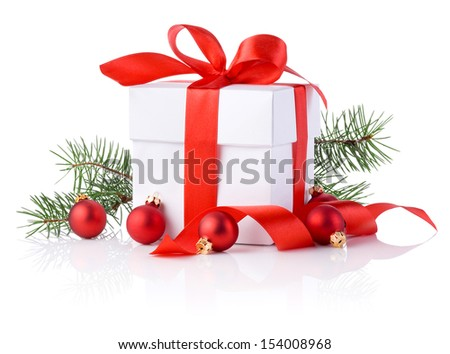 White boxs, red ribbon, tree branch and christmas ball Isolated on white background - stock photo