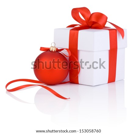 White boxs tied with a red satin ribbon bow and christmas ball Isolated on white background