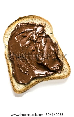 white bread and hazelnut chocolate spread on white