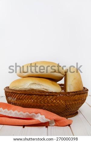 white bread in basket - stock photo