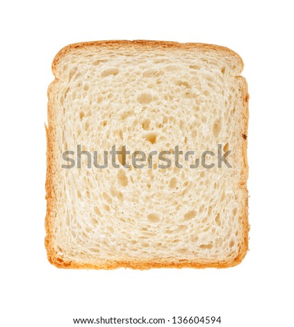 White bread slice. Isolated on white background - stock photo